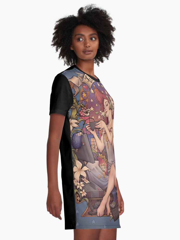 Alternate view of Gamer girl Nouveau Graphic T-Shirt Dress