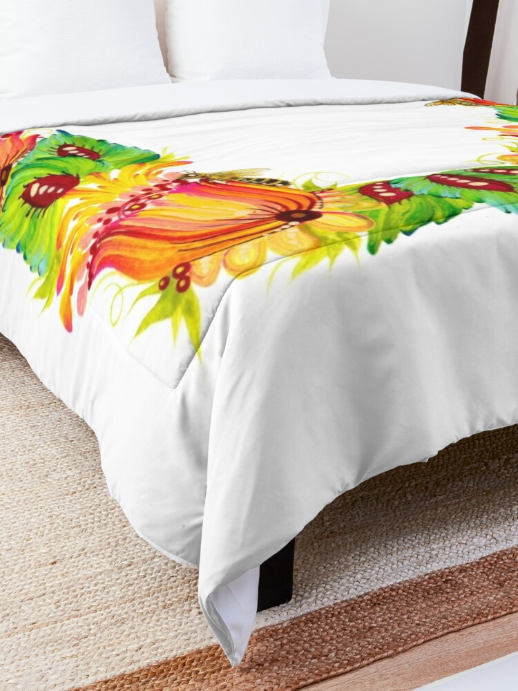 Alternate view of Bees on Flowers Petrykivka Style Comforter