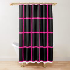 Deeppink Black Shower Curtain