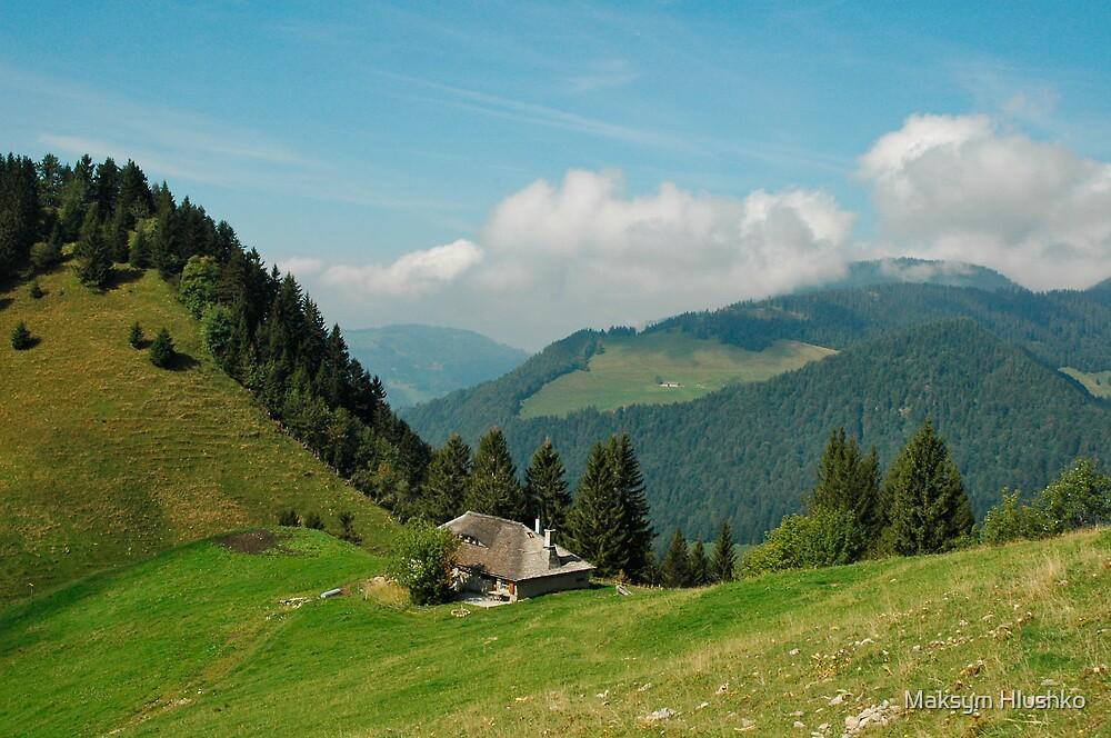Chalet on the ridge by Maksym Hlushko
