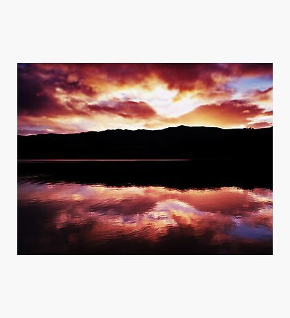 Crimson Clouds Over Loch Achray Photographic Print