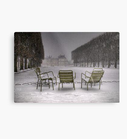 Chairs under the snow, Paris Metal Print