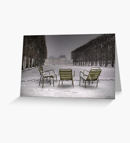 Chairs under the snow, Paris Greeting Card