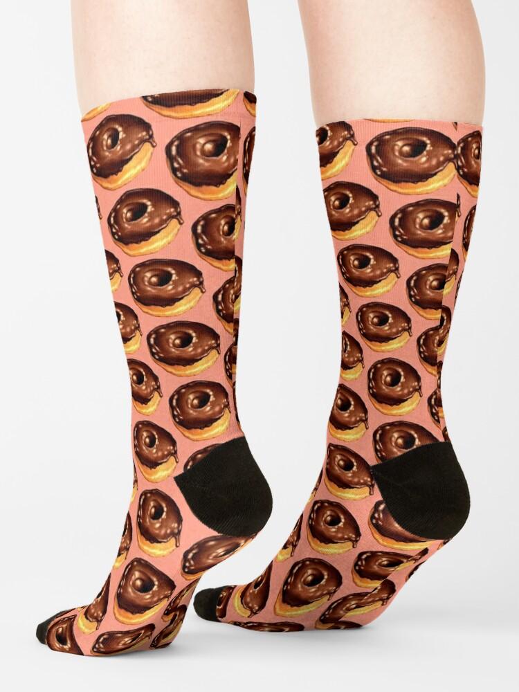 Alternate view of Chocolate Donut Pattern - Pink Socks