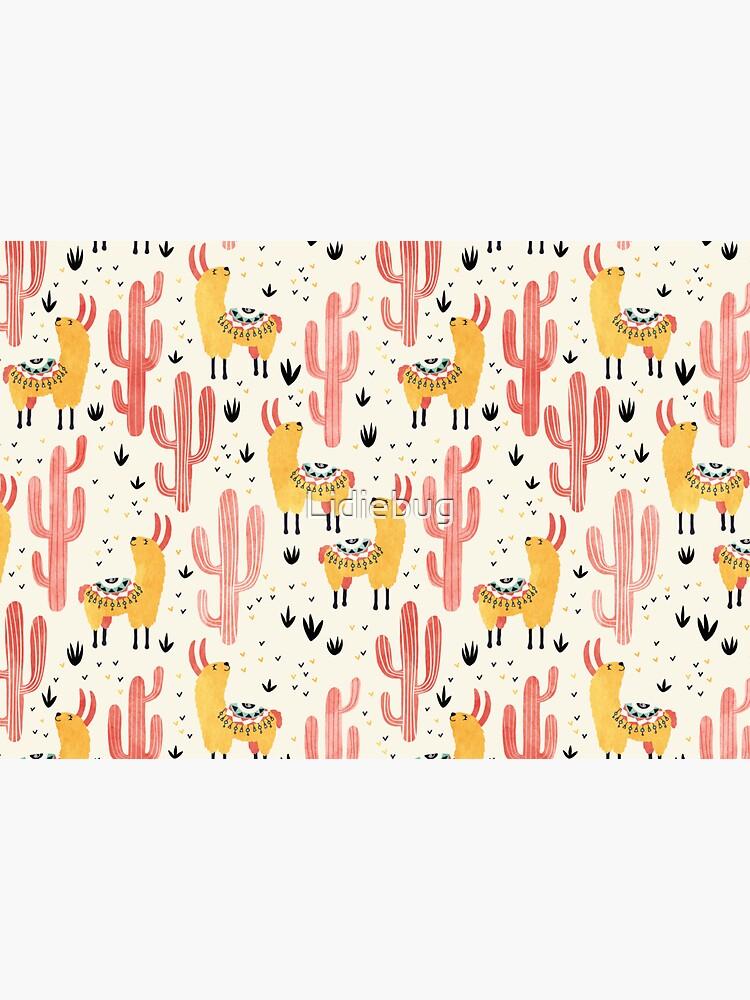 Yellow Llamas Red Cacti by Lidiebug