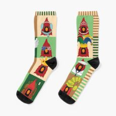 Cute Cardinal Collage Socks
