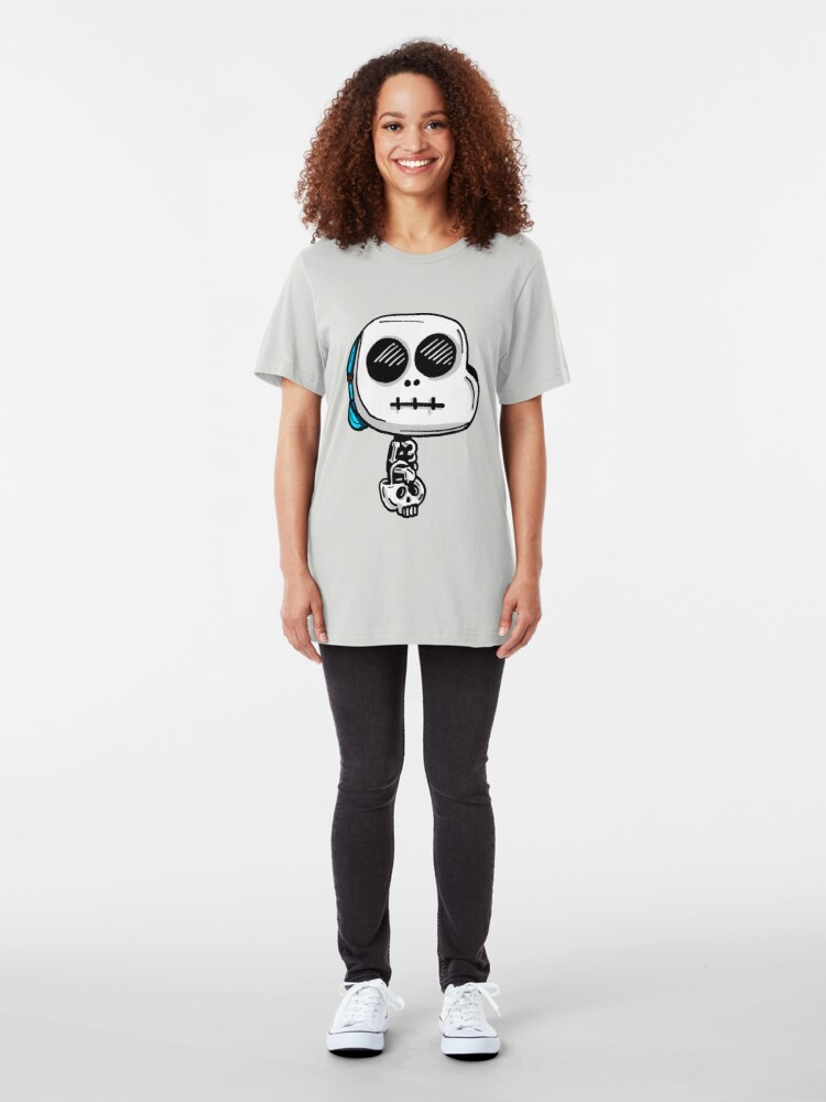 Alternate view of Gumball Watterson from The Amazing World of Gumball™ wearing a Halloween Skeleton Costume Slim Fit T-Shirt