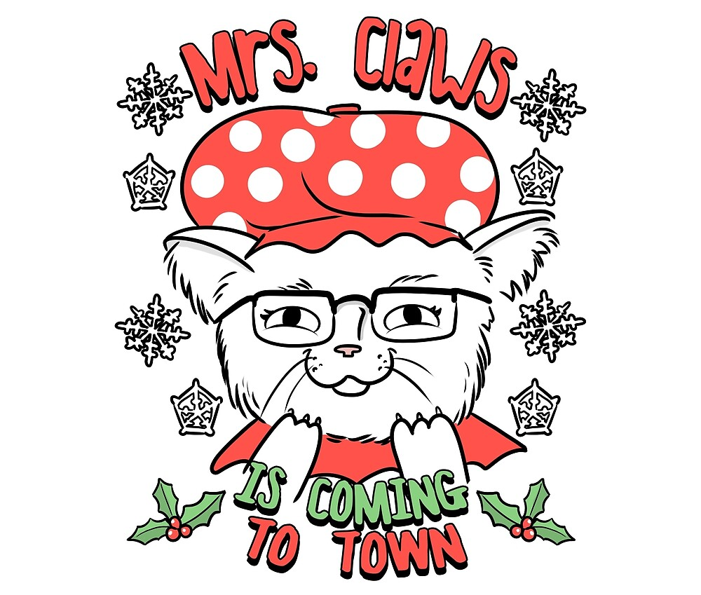 Mrs Santa Claws Cat   Christmas Kitty by Kittyworks