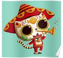 The Day of the Dead Cute Cat El Mariachi Poster