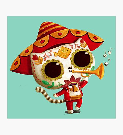 The Day of the Dead Cute Cat El Mariachi Photographic Print