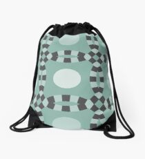 Linked - antique green and gray Drawstring Bag