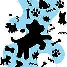 Schwarzweiss-Hunde mit blauem Farbenfleck von XOOXOO