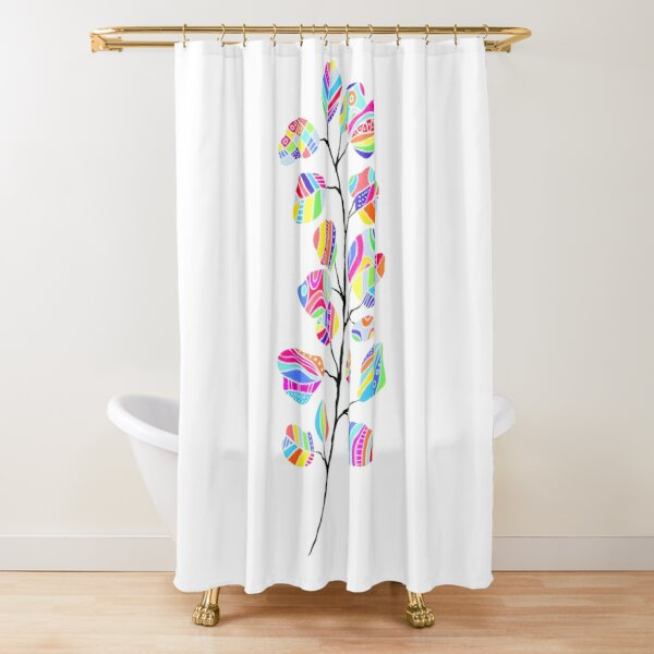 Bright Abstract Rainbow Leaves Shower Curtain