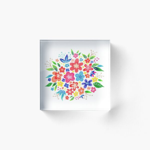 Abstract Flower Cluster with Leaves Acrylic Block