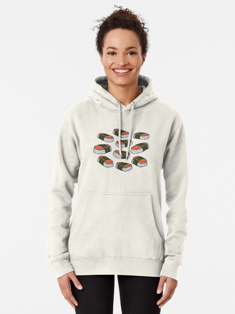 Alternate view of Spam Musubi Sushi Pattern Pullover Hoodie