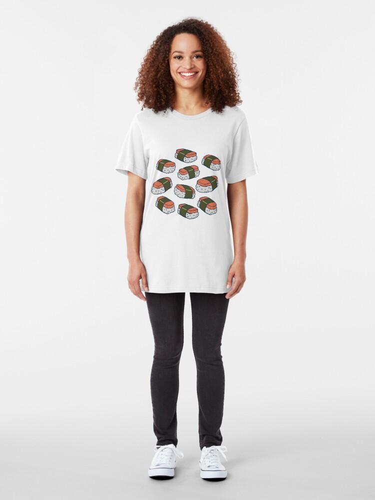 Alternate view of Spam Musubi Sushi Pattern Slim Fit T-Shirt