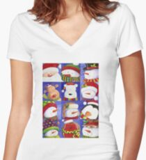 Cute Christmas gang - Santa, Snowman, Penguin, Polar Bear Women's Fitted V-Neck T-Shirt