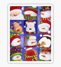 Cute Christmas gang - Santa, Snowman, Penguin, Polar Bear Sticker