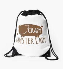 Crazy Hamster lady Drawstring Bag