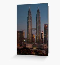 petronas towers at dawn Greeting Card
