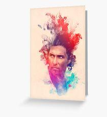 Matthew McConaughey Ink Watercolor Splash Portrait True Detective Greeting Card