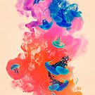 Psychedelic Ink Jellyfish Dream Watercolor by Pepe Psyche