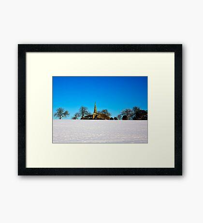 The Church on the Hill Framed Print