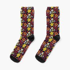 Kingdom Hearts crayon style pattern - bright Socks