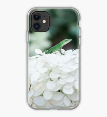 Little Green Lizard on a White Hydrangea iPhone Case