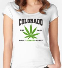 Marijuana Colorado First Green State Est 2012 Women's Fitted Scoop T-Shirt