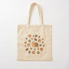 Snail, Mushrooms and Leaves  Cotton Tote Bag