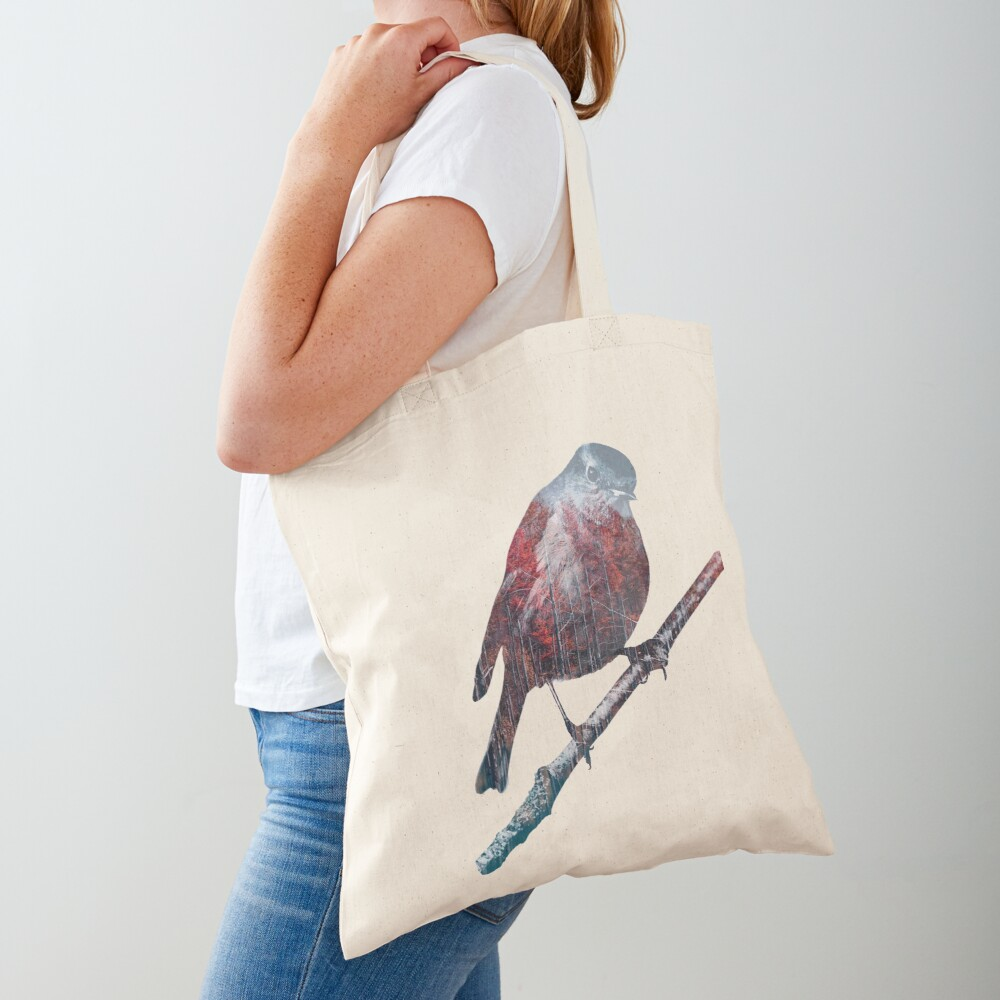 Forest Robin on a Branch  Tote Bag