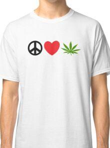 Peace Love Marijuana Classic T-Shirt