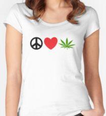 Peace Love Marijuana Women's Fitted Scoop T-Shirt