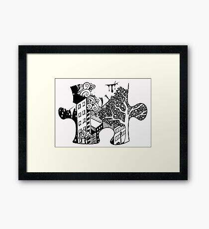 Exquisite Corpse Puzzle Piece Framed Print