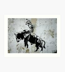 Western Cowboy Riding Bull Rodeo Art Print