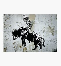 Western Cowboy Riding Bull Rodeo Photographic Print