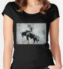 Western Cowboy Riding Bull Rodeo Women's Fitted Scoop T-Shirt