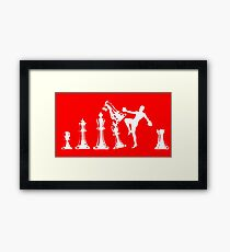 Kickboxing Chess Knee White  Framed Print