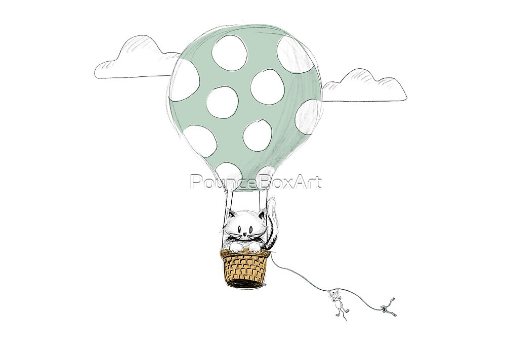 Up and Away - White cat and mouse in a hot air balloon by PounceBoxArt