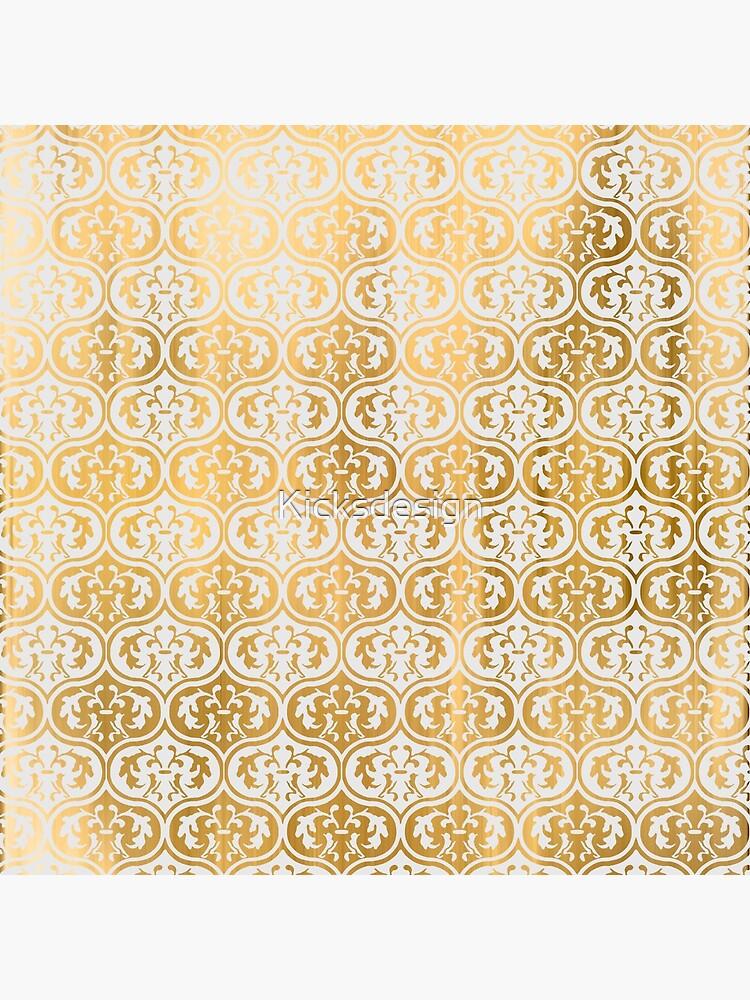 Elegant chic gold faux leaf floral damask pattern de Kicksdesign