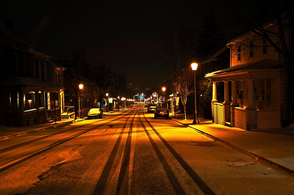 Nighttime, Snow and Lights. by Corkle