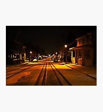 Nighttime, Snow and Lights. Photographic Print