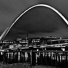 Millenium Bridge Snow Clouds Mono by Phil-Edwards