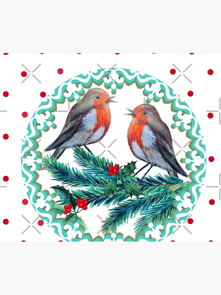 Christmas robins in love wreath by MagentaRose