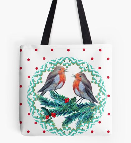 Christmas robins in love wreath Tote Bag
