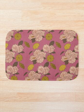 Flower Umbrella Pink Bath Mat