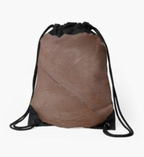 2D Photo-sampled Faux Brown Leather-effect Drawstring Bag