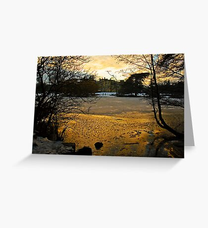 Sun setting over the Lake at Elvaston Castle Greeting Card