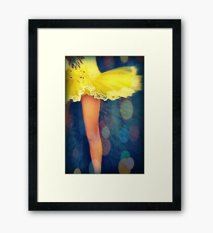 Party In A Yellow Dress Framed Print